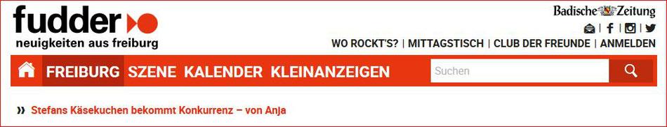 Artikel über Anjas Käsekuchen-Himmel in Fudder.de