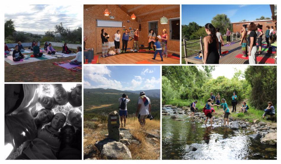 yoga ao ar livre, caminhada em grupo, serra, rio, retiro espiritual, natureza, cantar, círculo