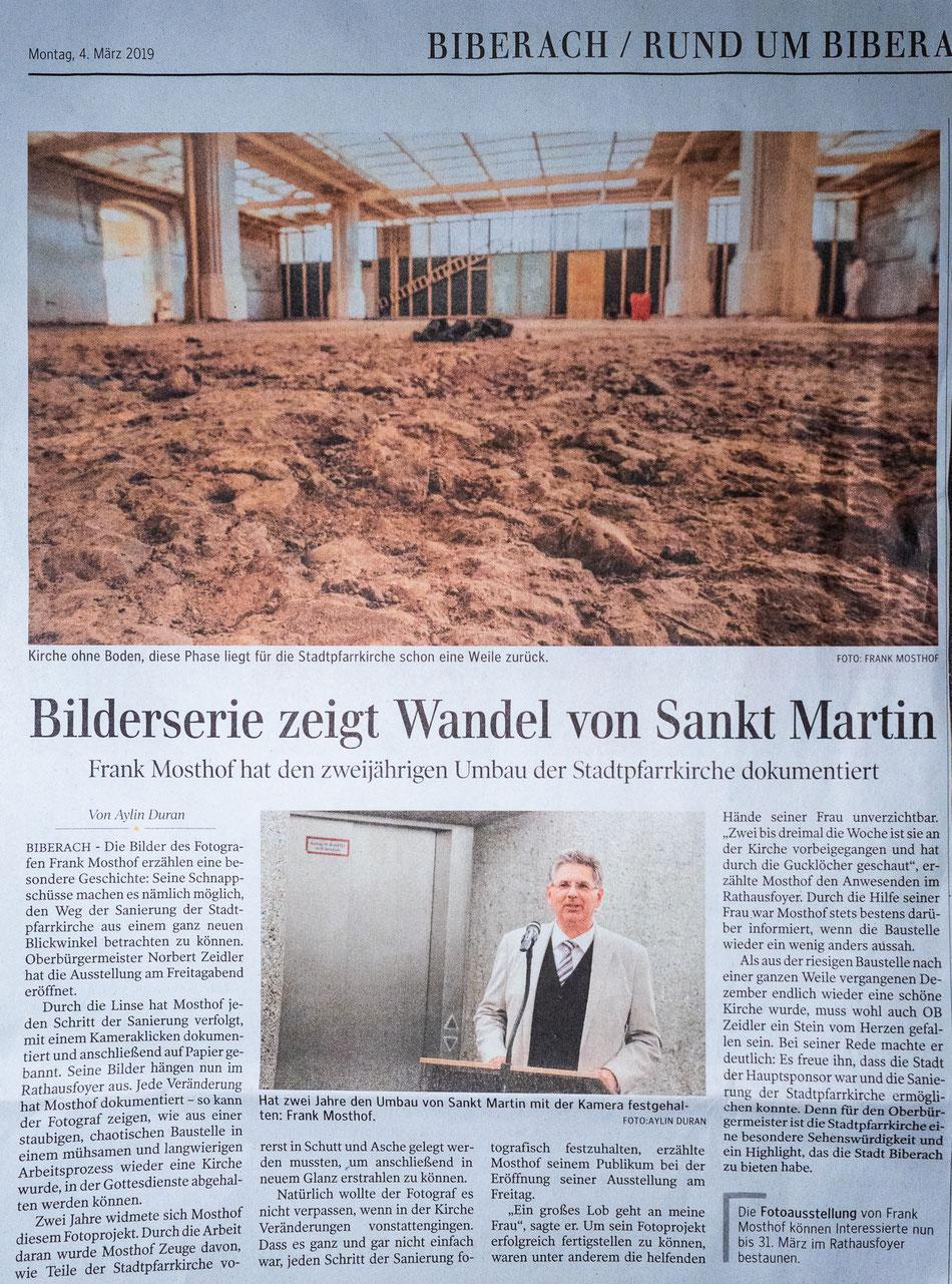 Bericht in der Schwäbischen Zeitung am  04.03.2019 zur Ausstellungseröffnung im Rathaus in Biberach an der Riß