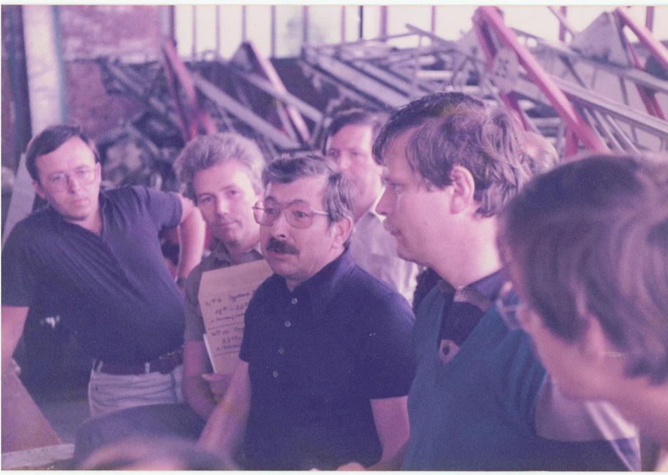 Rallye Vorderpfalz Besprechung in der SWT-Halle, im Juni 1983 - v.l. Mayer/Kjöstvedt/Raschig/Bleistein/Häfele/Kaiser