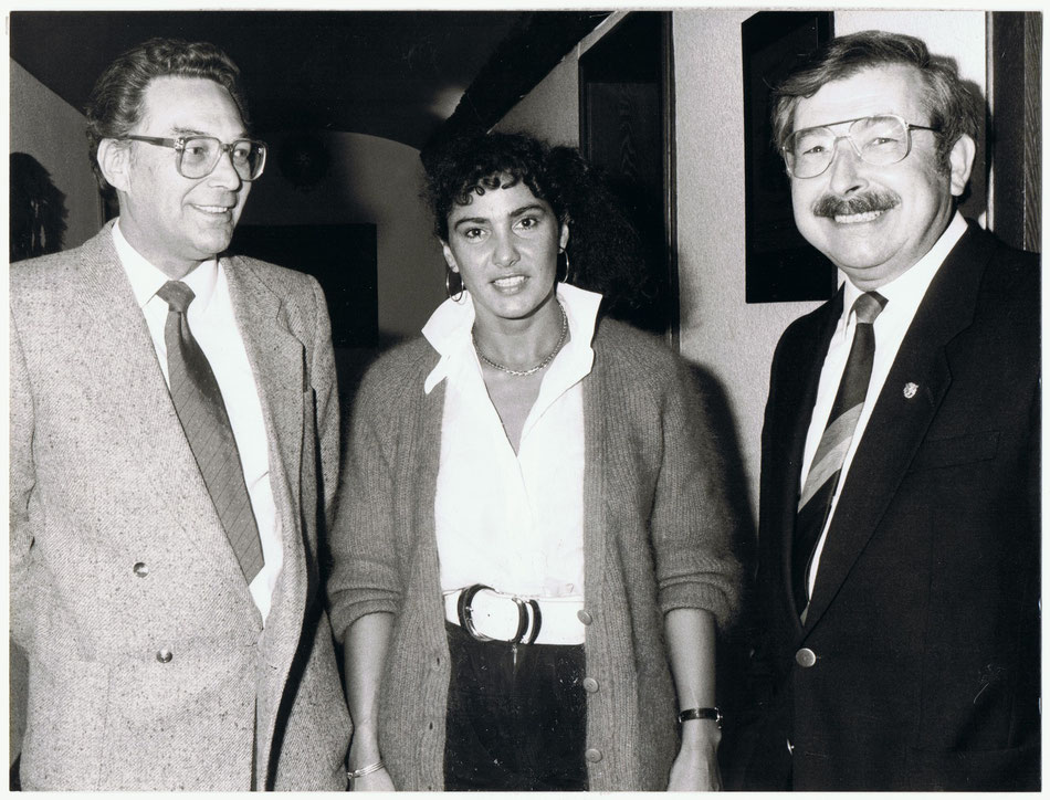 """Pressekonferenz Rallye Vorderpfalz 1986- v.l. """"Helle"""" Bein, Michéle Mouton und Gert Raschig"""