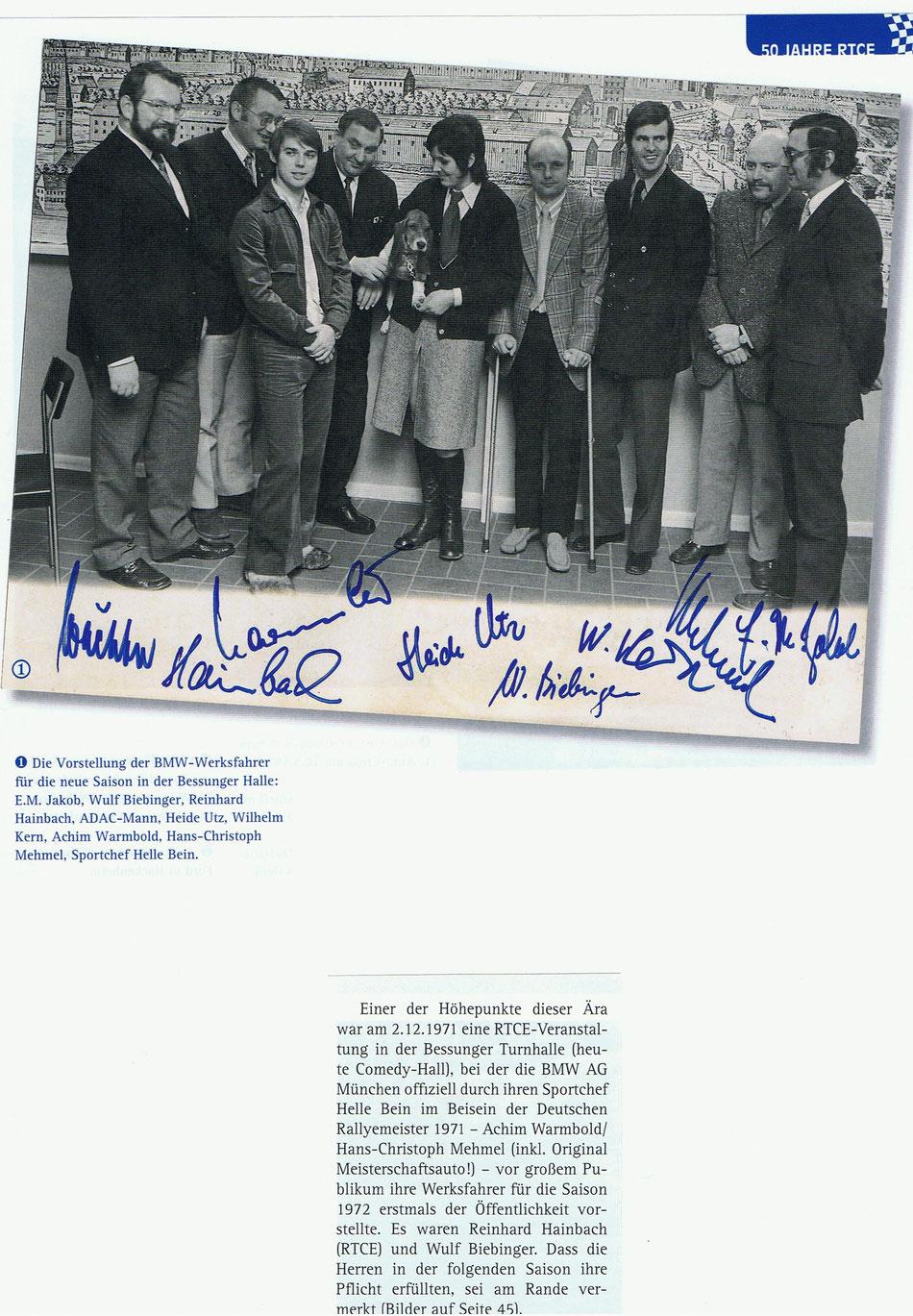 Auszug aus dem Programmheft der 27. Int. RTCE-Nibelungenfahrt am 26.04.14 - 50 Jahre RTCE Darmstadt - Vorstellung der BMW-Werksfahrer am 02.12.1971