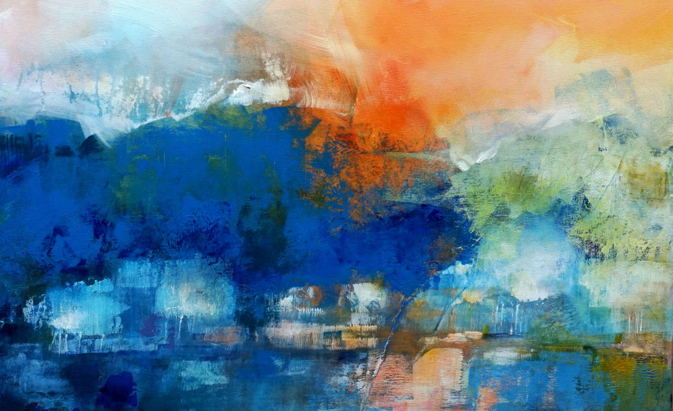 Abstract landscape, mixed media on canvas, detail. Marianne Quinzin Peintre