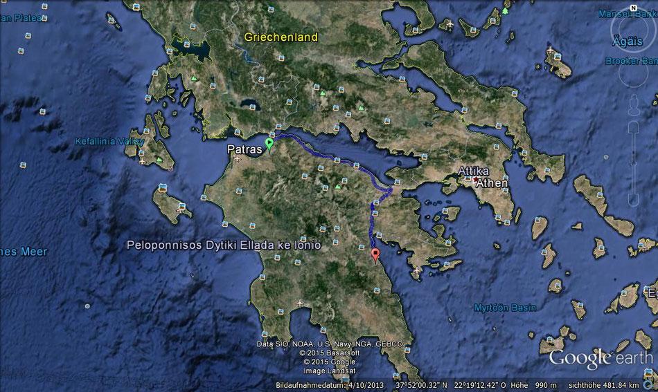 Der Weg von Patras nach Paralio Astros