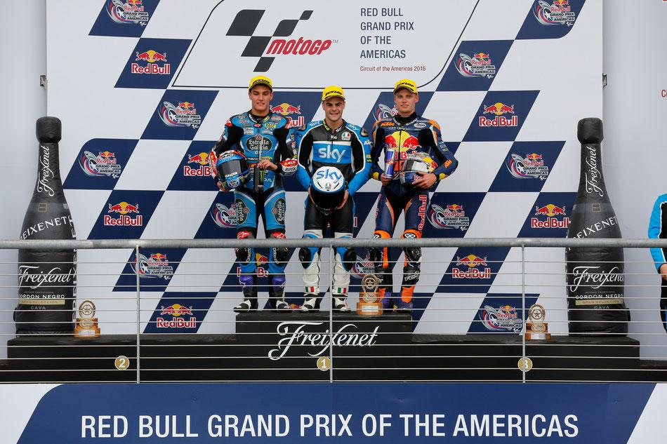Jorge Navarro, Romano Fenati und Brad Binder auf dem Podium der Moto3 2016 in Austin