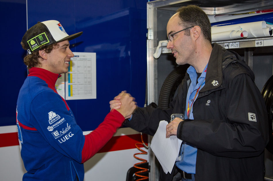 Markus Kahl trifft Marco Bezzecchi am Sachsenring 2018 zum Gespräch.