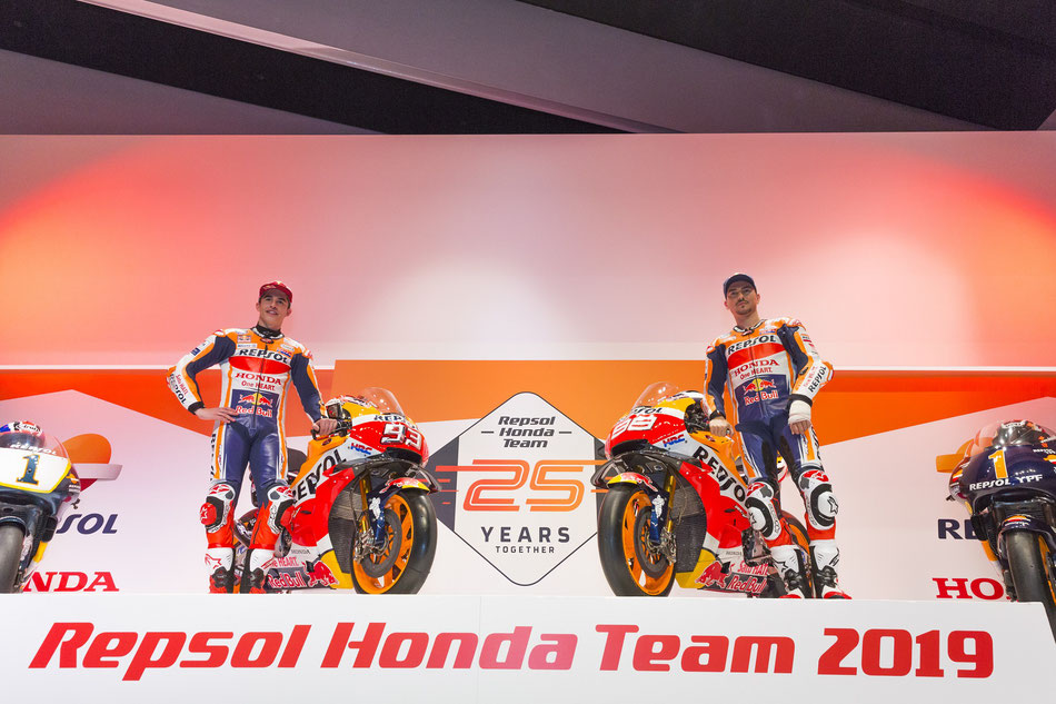 Neues Jahr, neues Gesicht. Neben Marc Marquez fährt 2019 Jorge Lorenzo für das Repsol Honda Team.