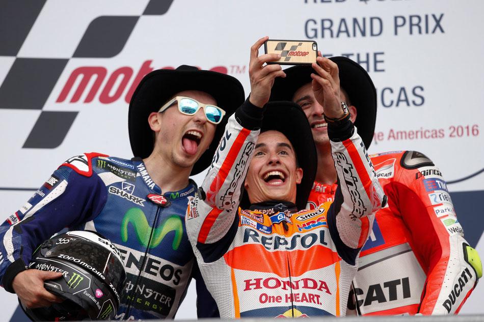 MotoGP 2016 in Austin. Die Sieger Marc Marquez, Jorge Lorenzo und Andrea Iannone