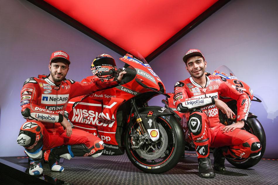 """Den Anfang der """"Enthüllungen"""" macht 2019 Ducati mit seinem Bike und den Fahrern Andrea Dovizioso und Danilo Petrucci."""