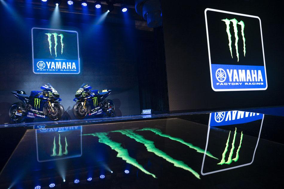 Aus Movistar Yamaha wird 2019 Monster Yamaha. Mehr Schwarz, mehr Giftgrün für die neue Saison.