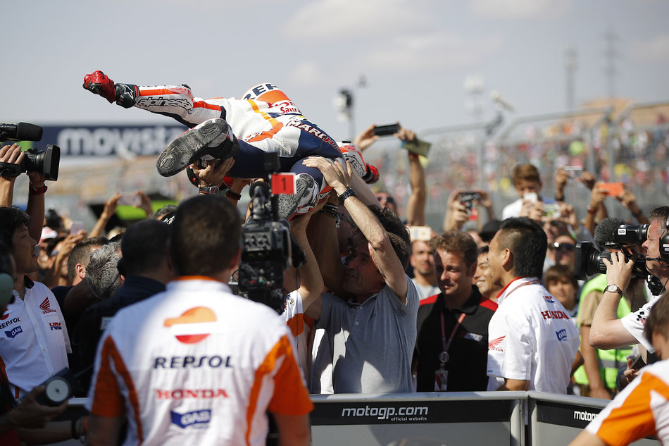 Marc Marquez für Repsol Honda in der MotoGP in Aragon 2016.