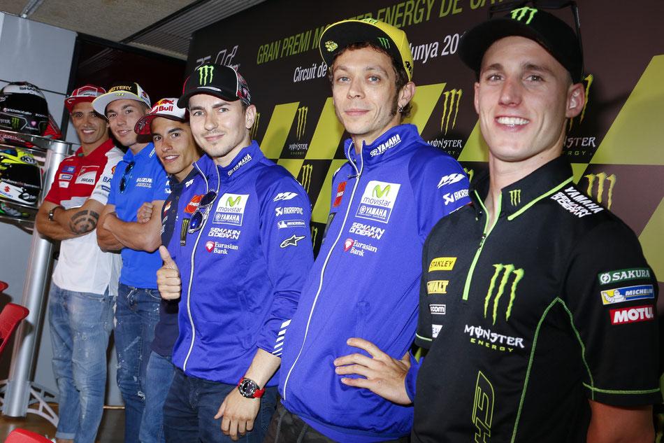 Wer erzählt jetzt eigentlich was? Werksfahrer (fast) unter sich bei der traditionellen Pressekonferenz der MotoGP.