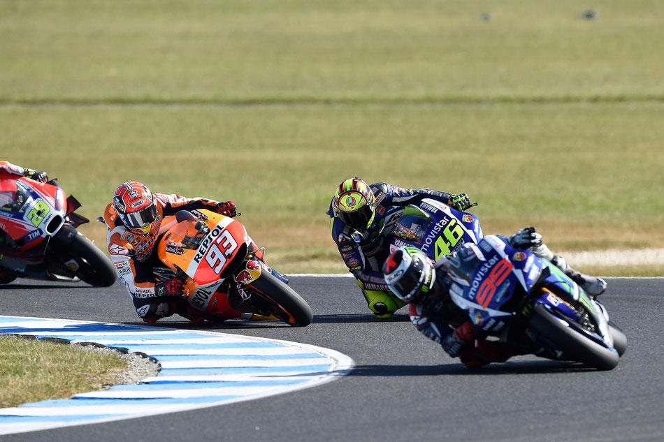 Ein Vierkampf bis ins Ziel beim MotoGP Rennen in Australien: Jorge Lorenzo, Marc Marquez, Valentino Rossi und Andrea Iannone