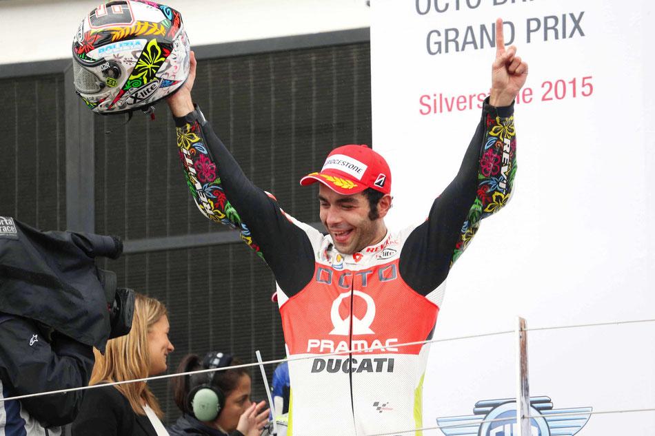Dank Regenchaos 2015 in Silverstone auf das Podest gespült: Danilo Petrucci. Bald könnte er vielleicht öfter jubeln - ausgeschlossen ist es dank neuer Regularien nicht.