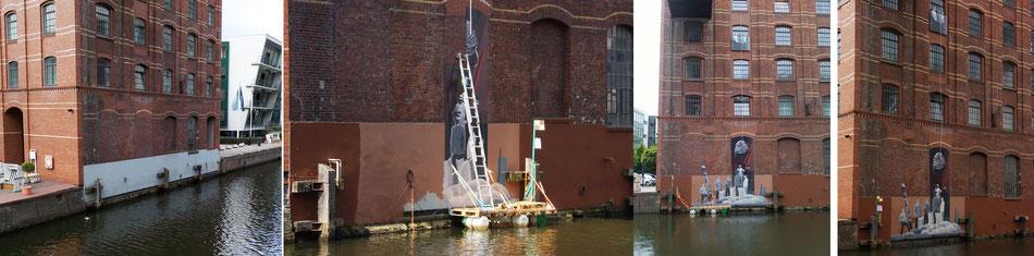 Im Binnenhafen in Harburg verweisen 5 Stationen auf das Leben und Treiben an den Baudenkmälern und in den Fleeten.