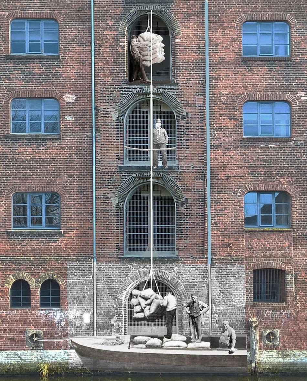 Entladen von Schuten in das Fleethaus in Harburg. Getreide wurde in Säcken angeliefert und in den Speicher gezogen.