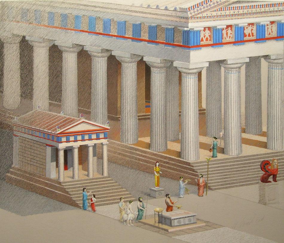 Der nicht mehr erhaltene kleine farbige Tempel B in Selinunt wird in dieser Darstellung wieder sichtbar.