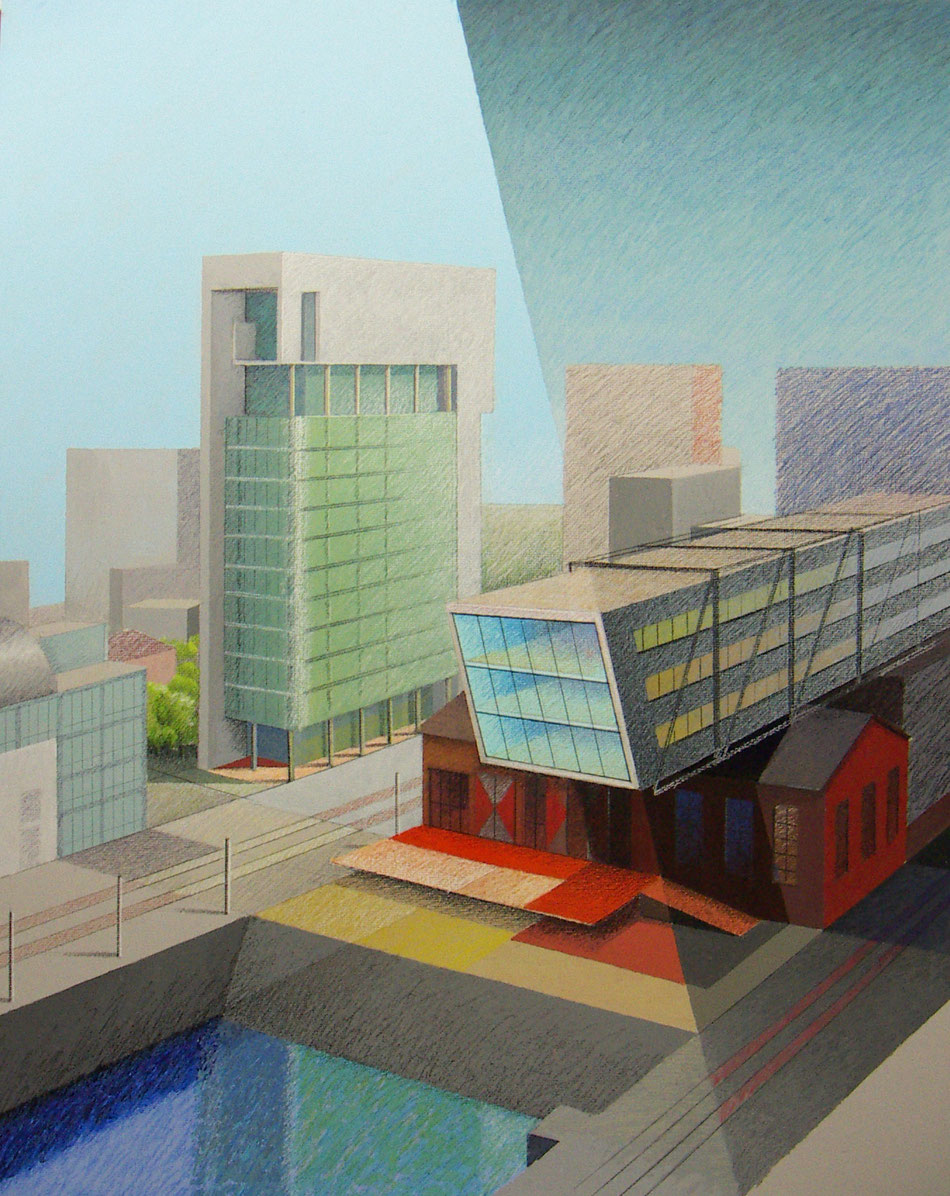 Medienhafen Düsseldorf, Stadtbilder von Werner Krömeke, Pastell und Acryl auf Karton