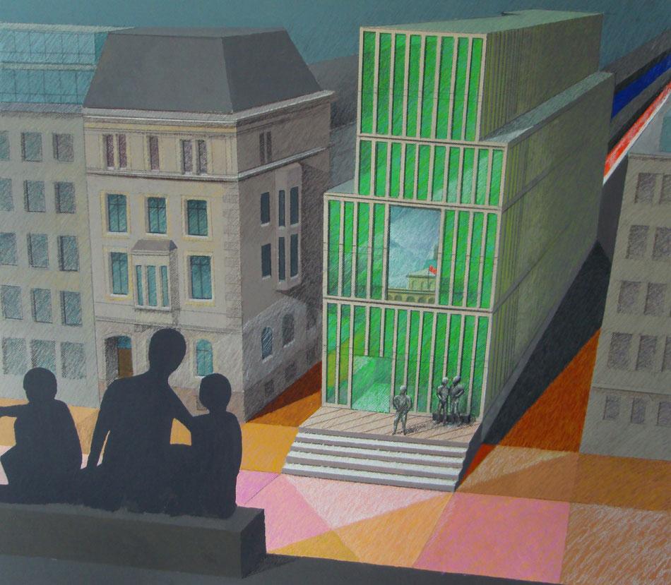 Adolphsplatz mit Innovationsforum, Hamburg Handelskammer. Ein Dialog der Skulpturen.