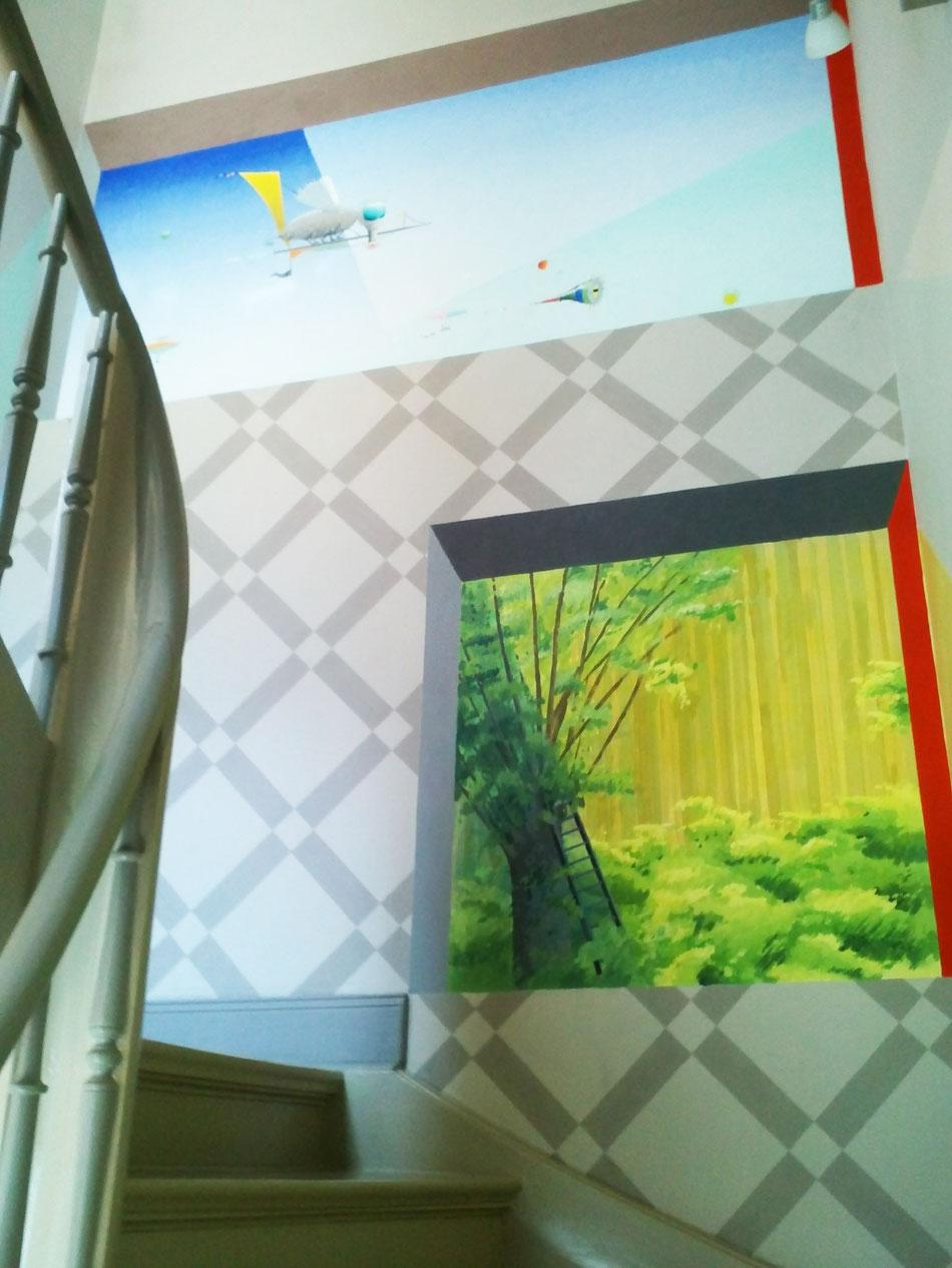 Treppenhaus erhält ein Kunst-Fenster. Ein Treppenhaus wird zum Erlebnis