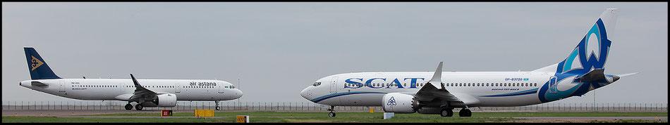 Zwei Jets der neuesten Generation; Air Astana Airbus A 321NEO und Scat Air Boeing 737 MAX 8.