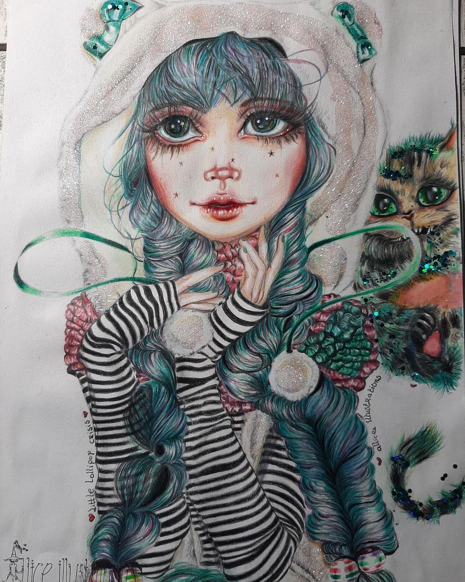 My little lollipop crisis...dear Alice illustratie zonder lijst 100 euro exclusief verzendkosten SOLD