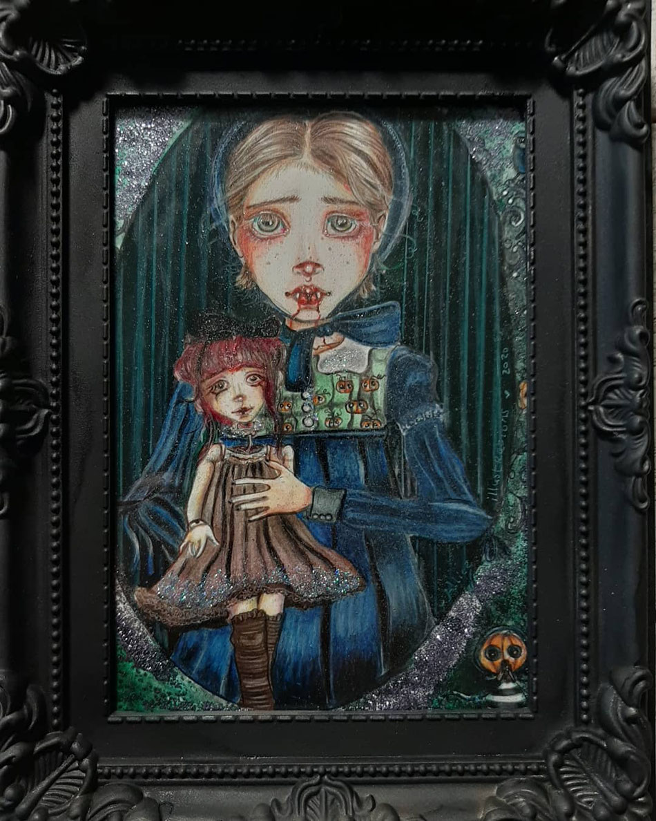 This is Lenora & Lilith... illustration in black frame