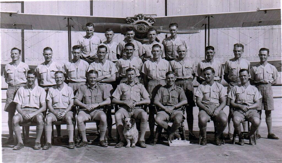 55 Squadron (with new dog Blotto) at Hinaidi 1936.  Air Gunner Leslie Rogers 2nd row 5th from Left (with thanks to Ben Lovegrove)