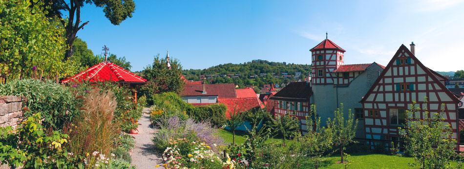 Blick auf die Fachwerkhäuser der Stadt Creglingen