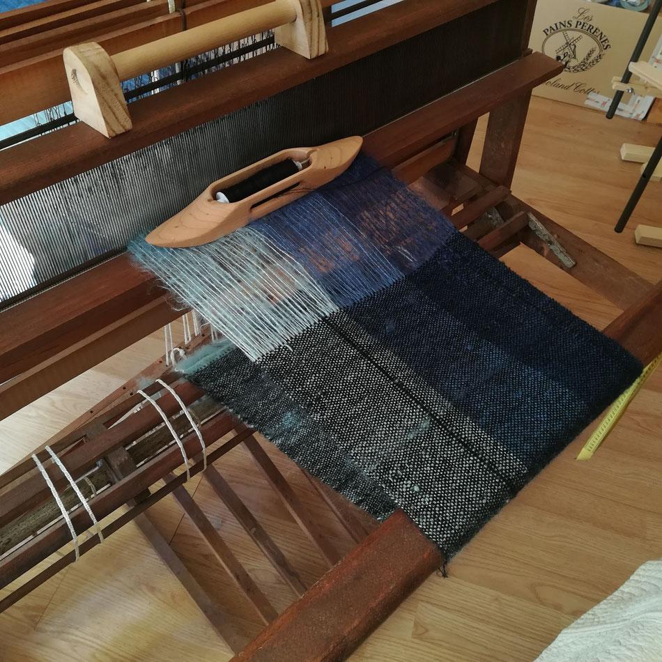 Écharpe tissée en laine Céleste doublée