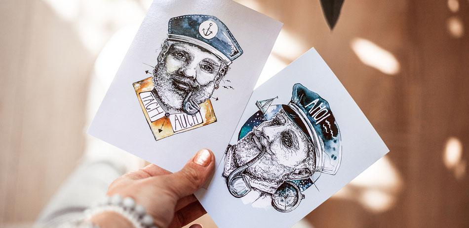 Postkarte_Austernfischer_Holger_Hahn_ueber_bord