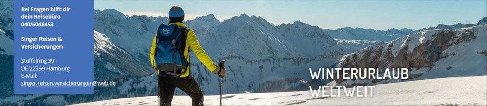 Ski und Winter Reisen Weltweit...bei Singer Reisen & Versicherungen zum Jubiläums-Vorteil buchen...
