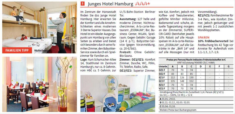 Hotels in Hamburg beim Indider buchen . Familienhotel: Junges Hotel bei Singer Reisen & Versicherungen buchen.