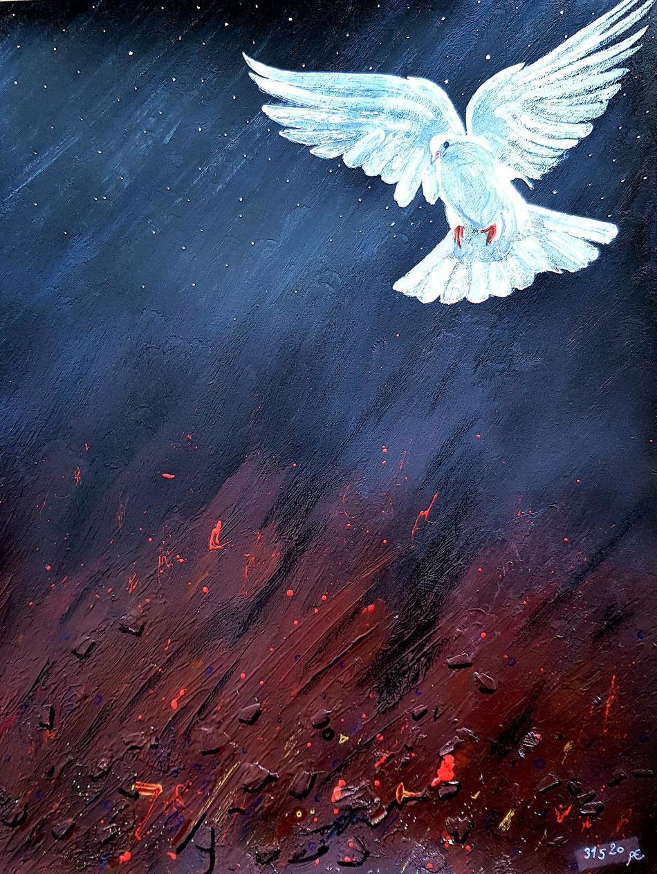 Das Pfingstgeschehen mit Symbol einer Taube für den heiligen Geist