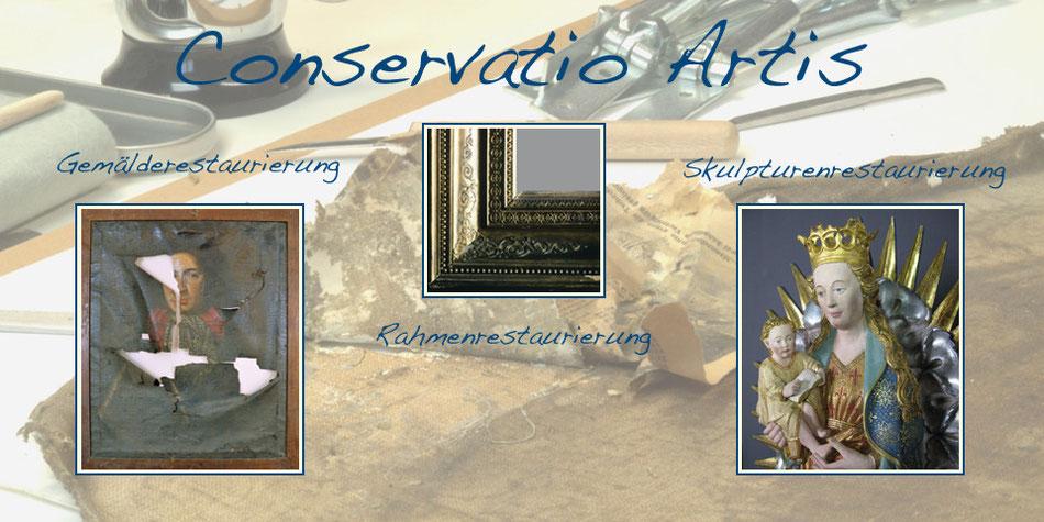 Titelbild Restaurierungsatelier Conservatio Artis Köln, Beispiele für Restaurierung von Gemälden, Rahmen und Skulpturen