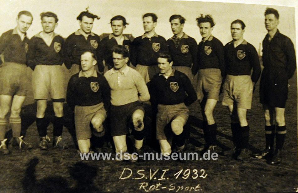 Die Rot-Sport Mannschaft des DSV, dem DSC-Museum freundlicherweise zur Verfügung gestellt vom DSV-Archiv.