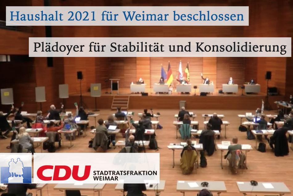 Haushalt 2021 für Weimar beschlossen - Plädoyer für Stabilität und Konsolidierung