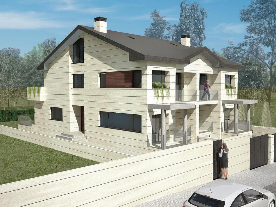 Render vivienda unifamiliar exterior 3D