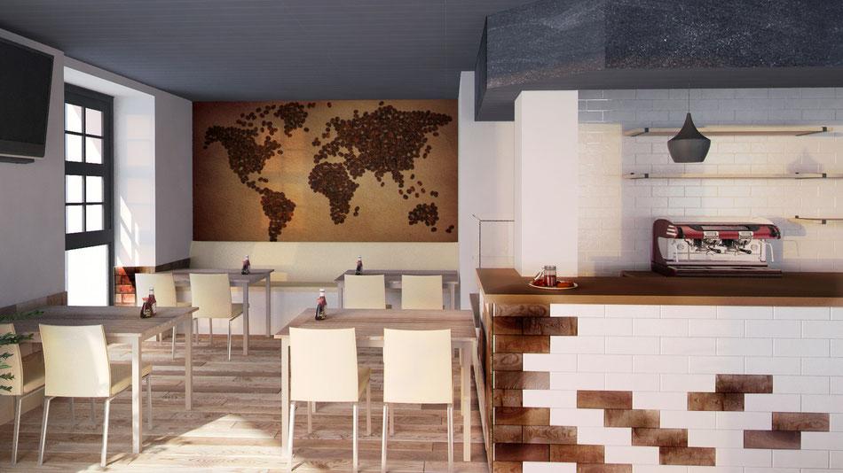 Render cafetería 3D