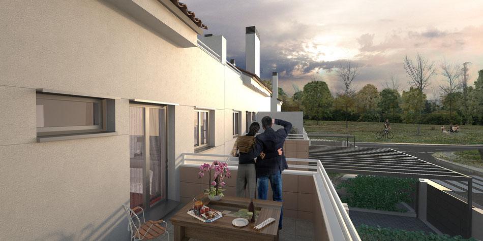 Render 3D exterior para promoción de viviendas en pinto, Madrid