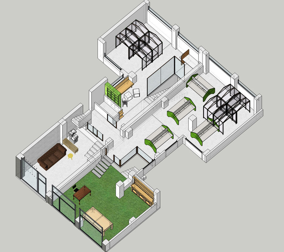 Plano coworking Sketchup. 2014