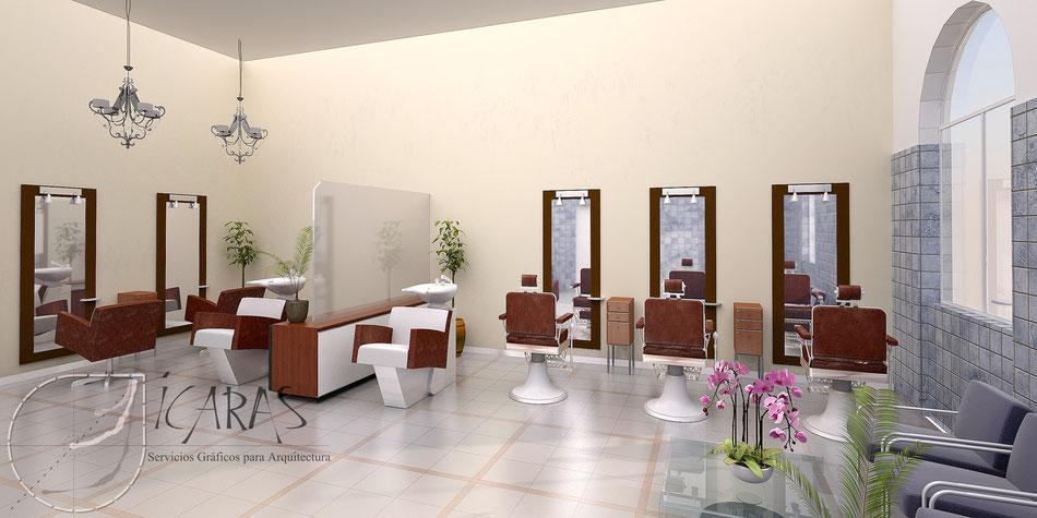 Render interior peluquería 3D
