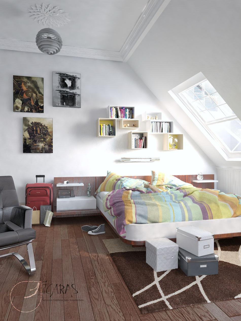 Infoarquitectura interior 3D. Interior habitación vivienda. 2014