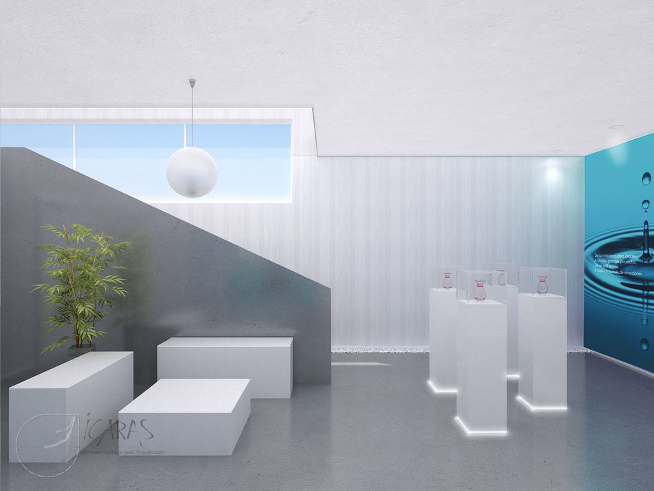 Render interior 3D - oficina
