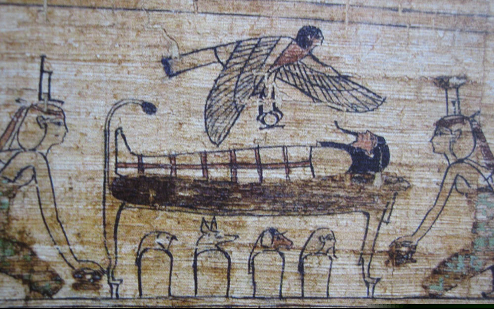 From the Serimenpapyrus  : the goddess Isis et Nephtys take care of the momie laying on his dead bed. Her Ba is above her.