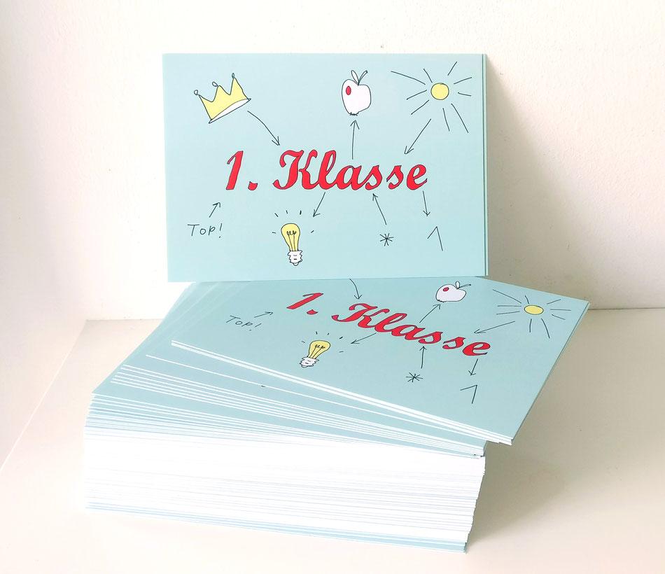 1.Klasse schöne Postkarte von m-illu