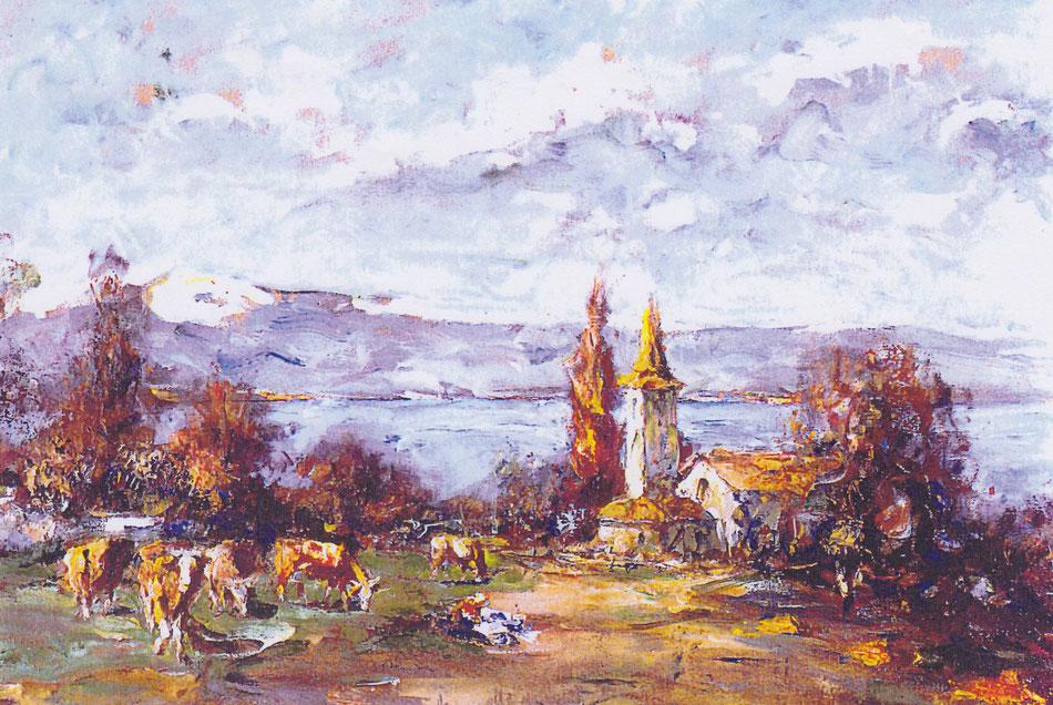 Tableau de Enrico Vegetti peint au début du XXe represantant la vue de la Chapelle ND du Lac au millieu des champs.