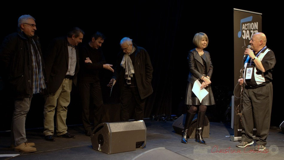 Dom Imonk, Franck Dijeau, Christophe Loubes, Philippe Méziat, Muriel Demguilhem, Alain Piarou, Jury du Tremplin Action Jazz 2015