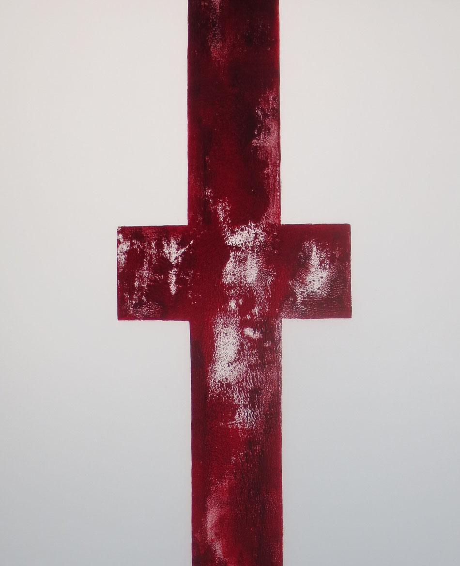 Christus verbindet Himmel und Erde - Farbdruck auf Glas, Klaus Simon