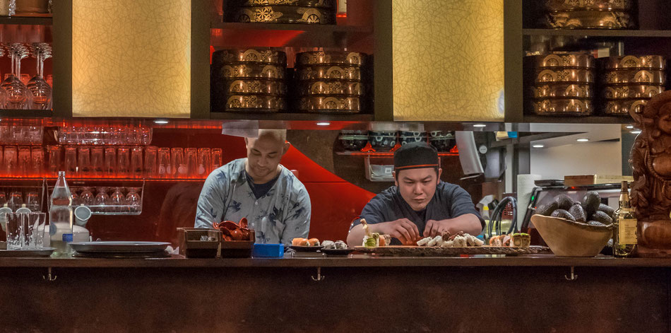 Chef cook at work: Yu-An guests have a direct line of sight into the restaurant's kitchen